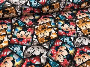 Bomuldsjersey - med Mickey og Minnie Mouse